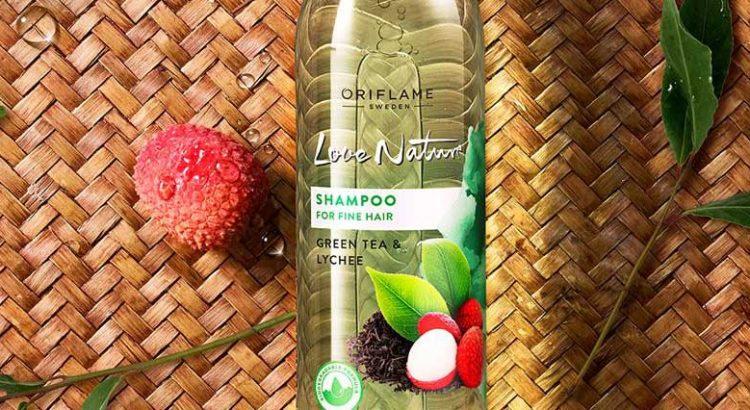 Champô para Cabelo Fino com Chá Verde e Líchia Love Nature Oriflame