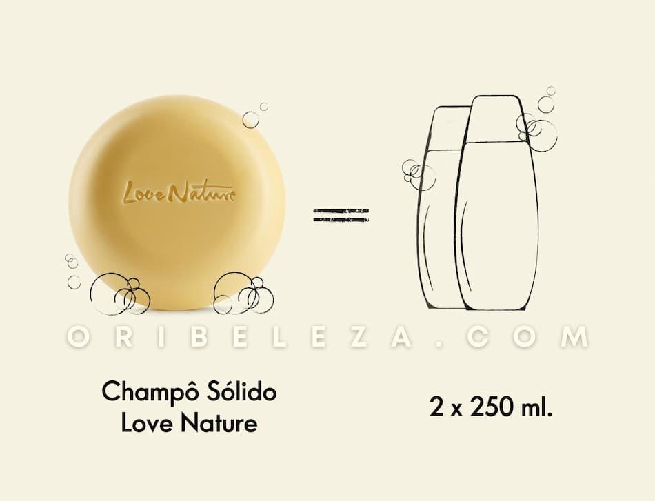 Um champô sólido que dura o dobro de um frasco de champô de 250 ml